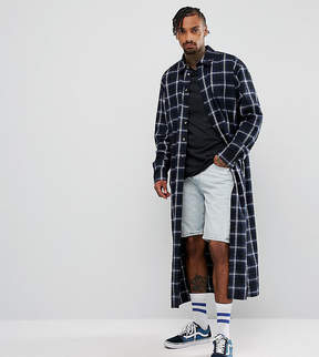 Reclaimed Vintage Inspired Oversized Super Longline Shirt In Checked Flannel