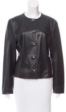Agnona Leather Button-Up Jacket