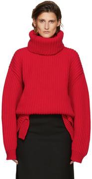 Balenciaga Red Wool Oversized Turtleneck