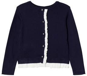 Lili Gaufrette Navy Cardigan with Frill Detail