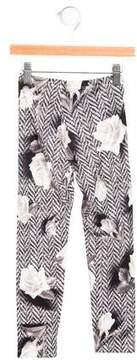 MonnaLisa Girls' Rose Print Stretch Knit Leggings