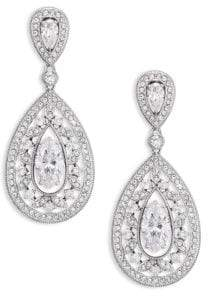 Adriana Orsini Pave Crystal Small Pear Drop Earrings/Silvertone