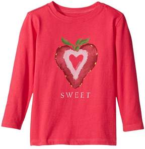 Life is Good Sweet Strawberry Long Sleeve Crusher Tee Girl's T Shirt