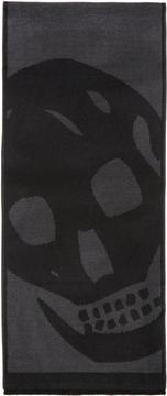 Alexander McQueen Black and Grey Oversized Skull Scarf