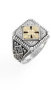 Konstantino Men's Silver & Gold Classics Square Ring