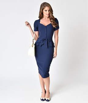 Stop Staring 1940s Style Navy Blue Faith Wiggle Dress