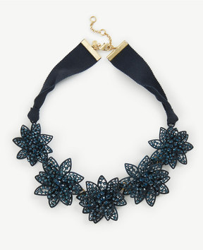 Ann Taylor Metallic Crystal Flower Statement Necklace