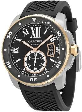 Cartier Calibre de Black Dial Black Rubber Men's Watch