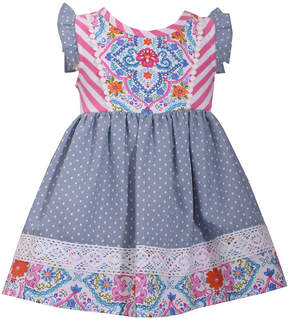 Bonnie Jean Short Sleeve Print to Chambray Dot Dress - Baby Girls