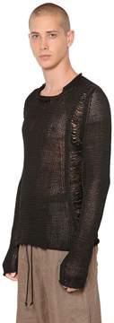 Isabel Benenato Destroyed Fishbone Knit Cotton Sweater