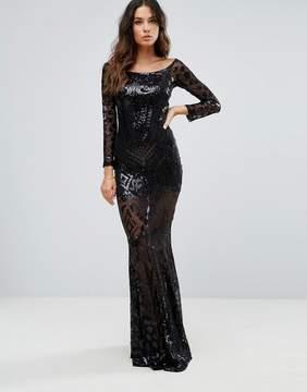 Club L Bardot Patterned Detail Sequin Maxi Dress