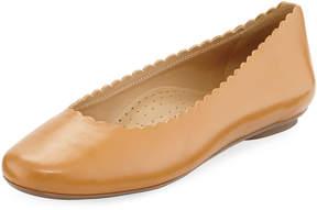 Neiman Marcus Sekia Scalloped Slip-On Flat