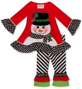 Rare Editions 2-Pc. Holiday Ruffle Tunic & Leggings Set, Little Girls (4-6X)