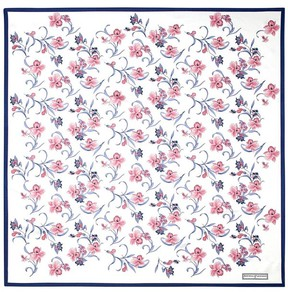 Aspinal of London Mini Flowers Silk Scarf In Cornflower Blue