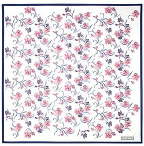 Aspinal of London Mini Flowers Silk Scarf In Cornflower Blue