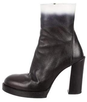 Ann Demeulemeester Ombré Leather Ankle Boots