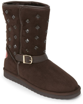 Love Moschino Brown Studded Faux Sheepskin Boots