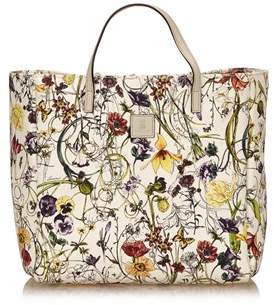 Gucci Pre-owned: Canvas Floral Tote Bag. - WHITE X MULTI - STYLE