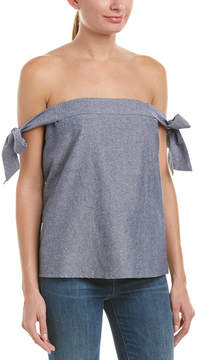Do & Be DO+BE Do+Be Tie-Shoulder Linen-Blend Top