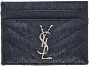 Saint Laurent Navy Quilted Monogram Card Holder