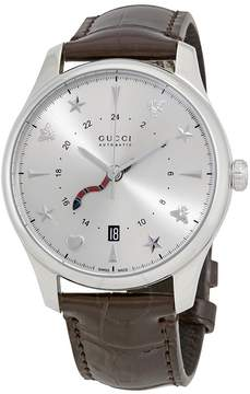 Gucci G-Timeless Silver Dial Automatic GMT Men's Leather Watch