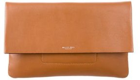 Michael Kors Large Leather Clutch - BROWN - STYLE
