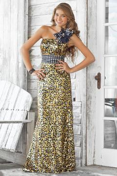 Blush Lingerie One Shoulder Printed Long Dress 9340