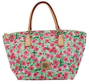 Dooney & Bourke As Is Floral Printed Coated Canvas Tulip Tote - ONE COLOR - STYLE