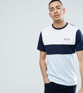 Nicce London tall panel t-shirt in blue exclusive to asos