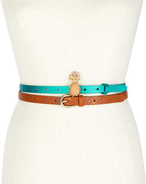 INC International Concepts I.n.c. Pineapple 2-For-1 Skinny Belt Set, Created for Macy's