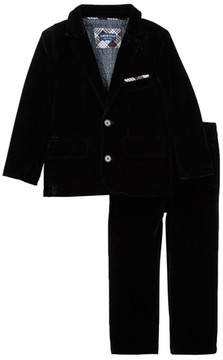 Andy & Evan Black Velvet Pants Suit Set (Toddler & Little Boys)