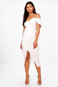 boohoo May Off Shoulder Wrap Skirt Midi Dress
