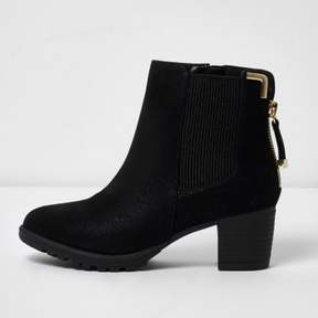 River Island Girls black zipped block heel chelsea boots