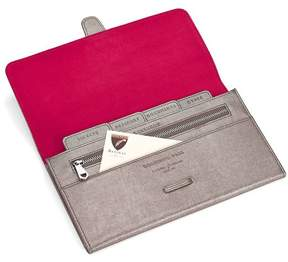 Aspinal of London Classic Travel Wallet In Orange Lizard Cream Suede
