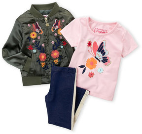 Flapdoodles Toddler Girls) 3-Piece Floral Embroidered Bomber Jacket & Leggings Set