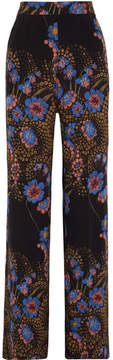 Etro Floral-print Silk Crepe De Chine Wide-leg Pants - Black