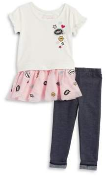 Flapdoodles Little Girl's Patch Accented Dress and Leggings Set