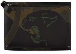 Valentino Bonded Leather Panther Pouch