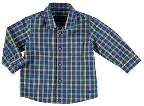 Mayoral Long-Sleeve Check Poplin Shirt, Blue, Size 6-36 Months