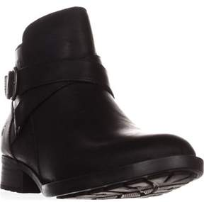 Børn Chaval Flat Casual Ankle Boots, Black Leather.