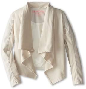 Blank NYC Kids - Drape Jacket w/ Vegan Leather Sleeves Girl's Coat