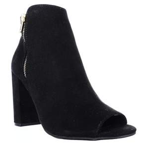 Material Girl Mg35 Carena Peep Toe Double Zip Ankle Boots, Black.