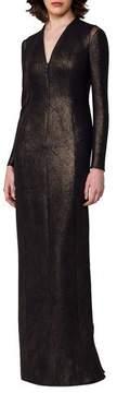 Akris Silk Lurex® Long-Sleeve V-Neck Gown, Black