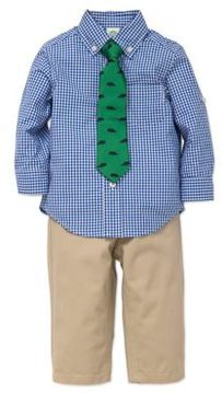 Little Me Baby Boy's Three-Piece Cotton Top Pants & Tie Set
