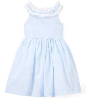 Laura Ashley Blue & White Gingham Yoke Neck Dress - Infant