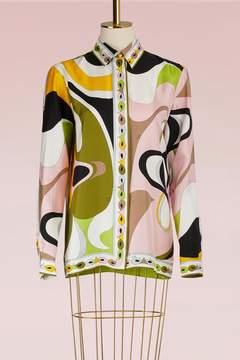 Emilio Pucci Maschere Print Silk Pajama Shirt