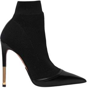 Balmain 115mm Aurore Knit & Leather Ankle Boots
