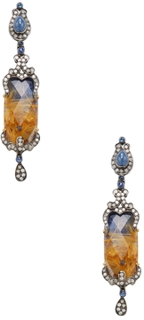 Artisan Women's Silver, 18K Yellow Gold, Quartz, Sapphire & 1.46 Total Ct. Diamond Drop Earrings