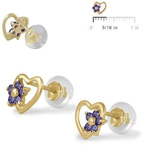 Ice 14K Yellow Gold Heart Flower Girls' Stud Earrings