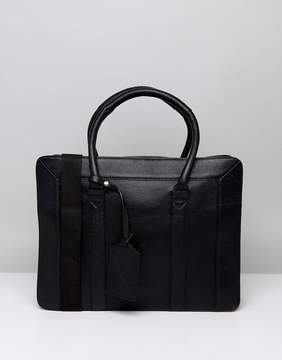 Asos Leather Briefcase In Structured Design